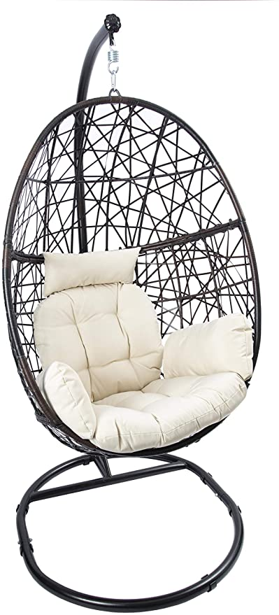 Amazon Com Luckyberry Egg Chair Outdoor Indoor Wicker Tear Drop Hanging Chair With Stand Kitchen In 2020 Hanging Chair Hanging Chair With Stand Swing Chair Outdoor