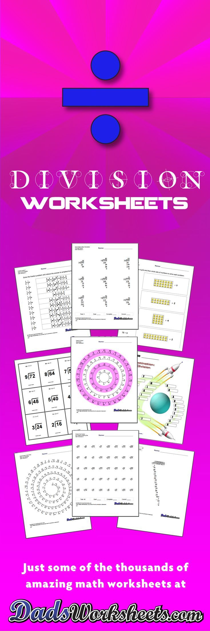 Printable Division Worksheets with Answer Keys! Timed