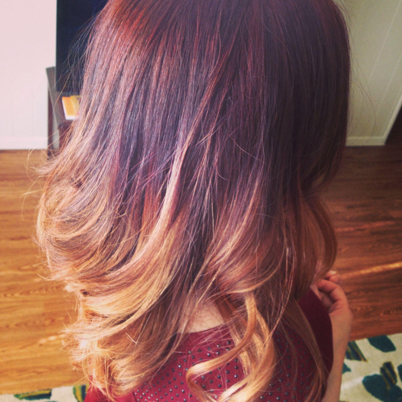 new hair dark auburn to blonde ombre hair nails