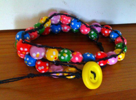 Bright Happy Multicolor Beads with Black Hemp Thread by AnABazaar, $12.99