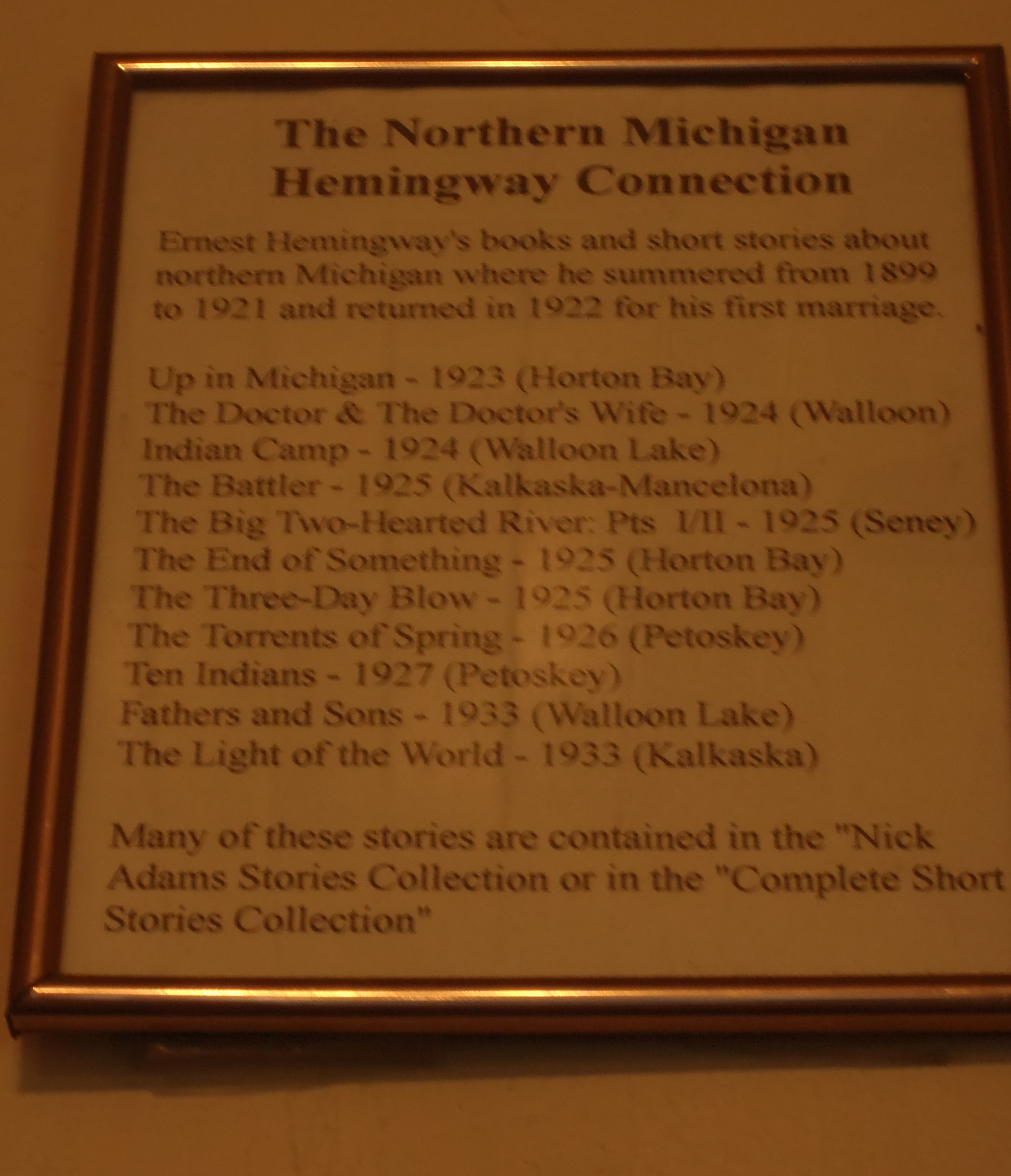 Titles of Hemingway's stories which were inspired by his time in N. MI.