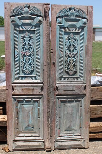 Large Egyptian French Doors With Intricate Hand Carvings 29 X 8 5 Each 58 Total Width 2900 For The Pair Or 1500