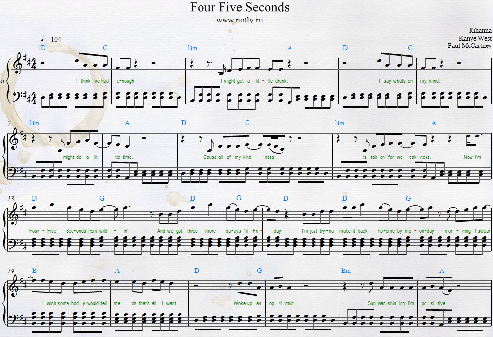 Fourfiveseconds Free Piano Sheets Rihanna Kanye West And Paul Mccartney With Guitar Chords And Lyrics Four Five Seconds Klaviernoten Klavier Noten
