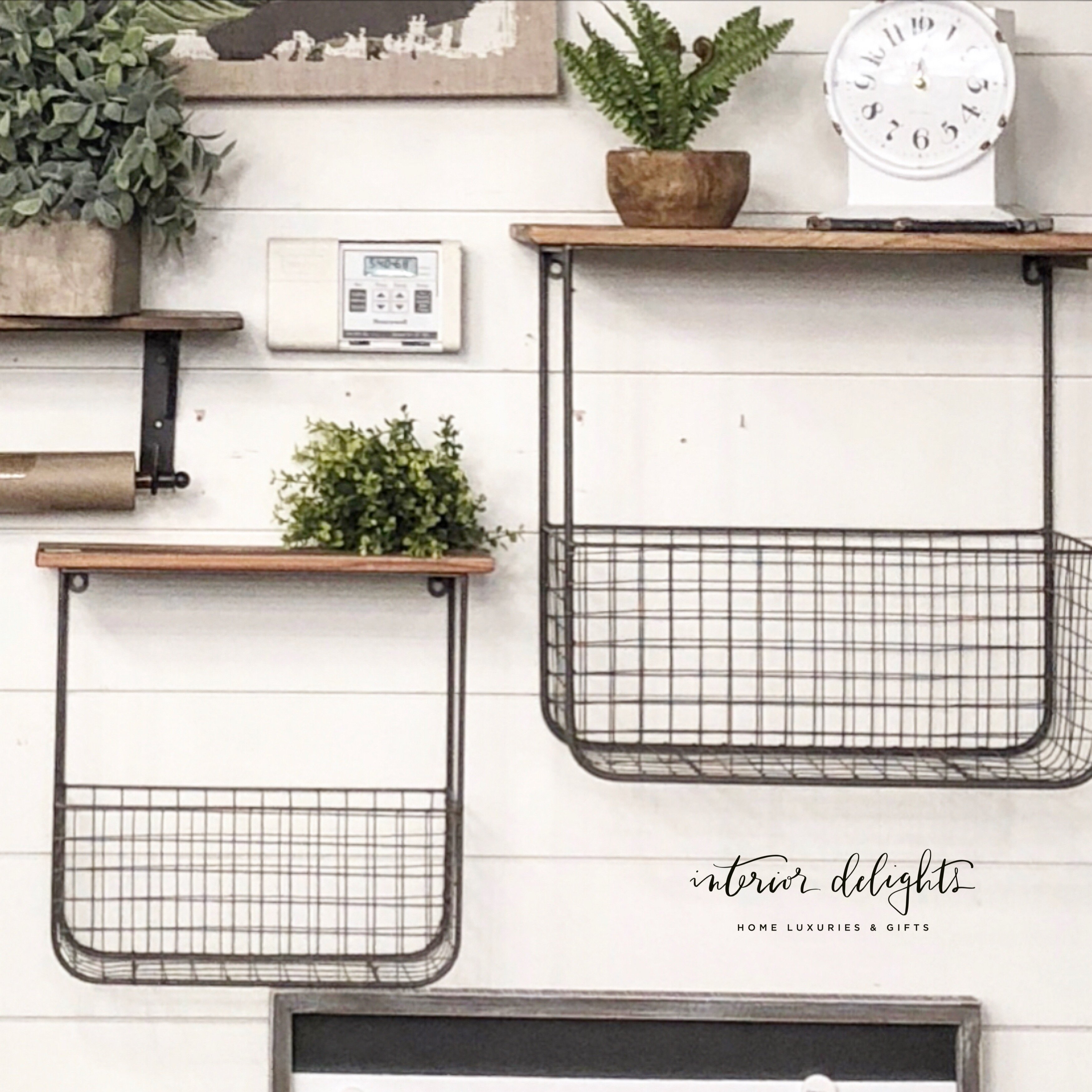 Set of two wood & wire basket shelves images