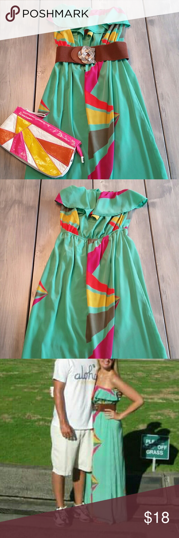 🚫SOLD🚫 Strapless Maxi Dress Beautiful strapless maxi dress is perfect for summer and even more so for vacation! Is in excellent condition with the only exception being a small pen mark which is pictured above.  Belt not included though the clutch pictured above is also listed for sale in my closet. There is no brand tag, but this was purchased in a boutique.   Dresses Maxi