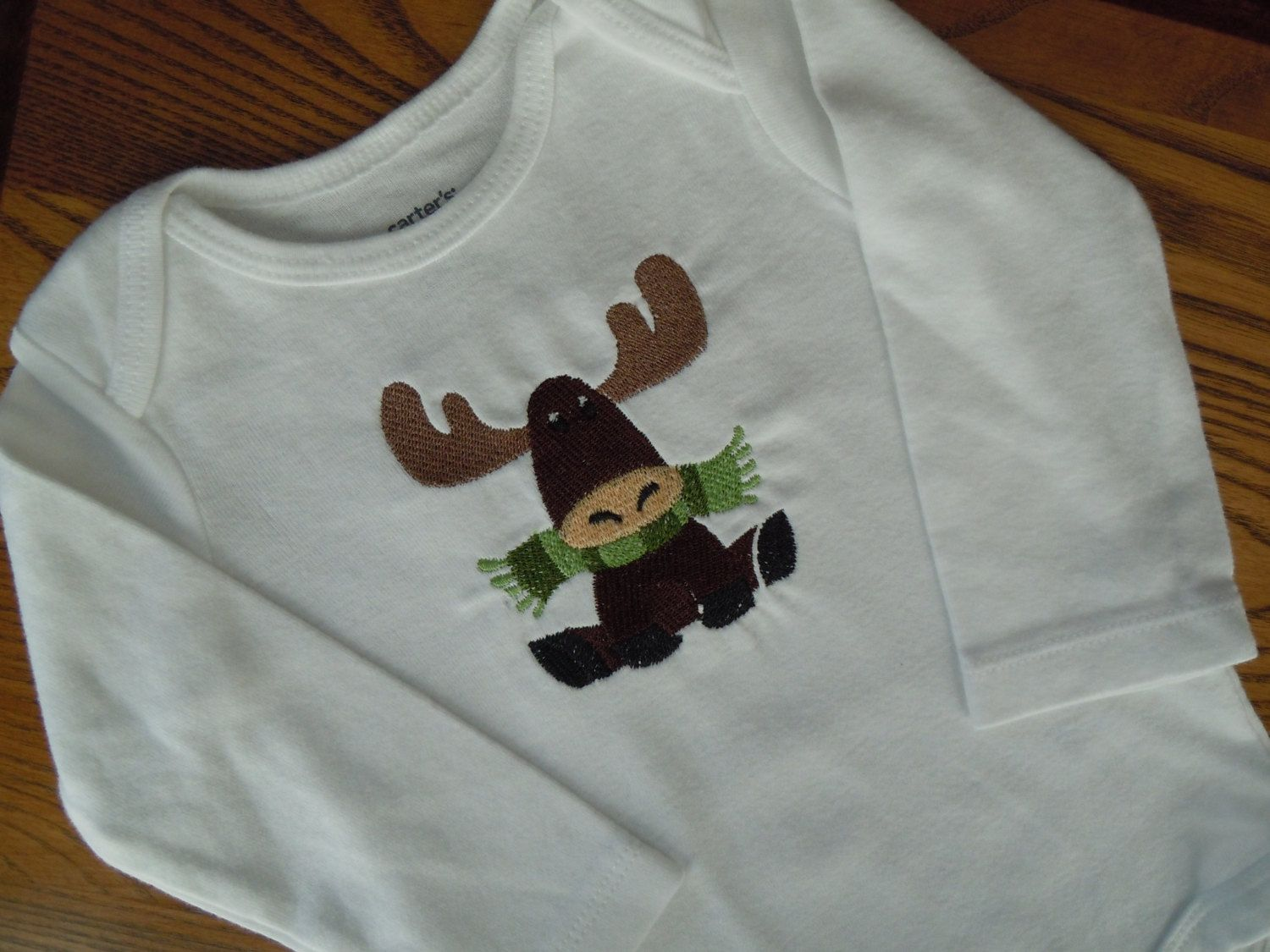 Baby Boy Onesie with Moose, Baby Bodysuit with Moose, Infant Onesie with Moose, Long Sleeve Bodysuit, Long Sleeve embroidered Onesie by SewFlurry on Etsy