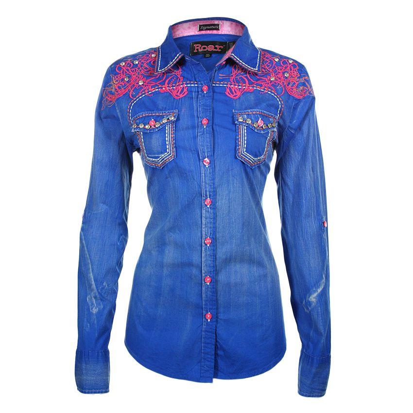 fd77bf09f11db Roar Women's Roar Wild Embroidered Western Shirt | Western Wear ...