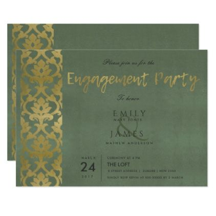 CLASSIC GOLD GREY DAMASK FLORAL PATTERN ENGAGEMENT CARD - formal