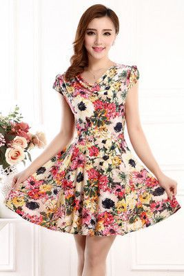 9832610612 L-4XL New Fashion women Summer Floral Print Short sleeve V neck Slim Casual  sundress Plus Size Beach Dress Bohemian Style