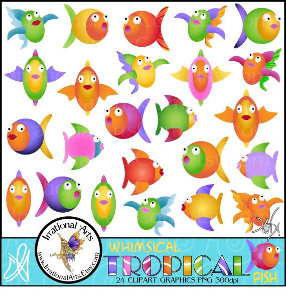 Whimsical Tropical Fish set 2 of 24 png files by IrrationalArts, $4.95