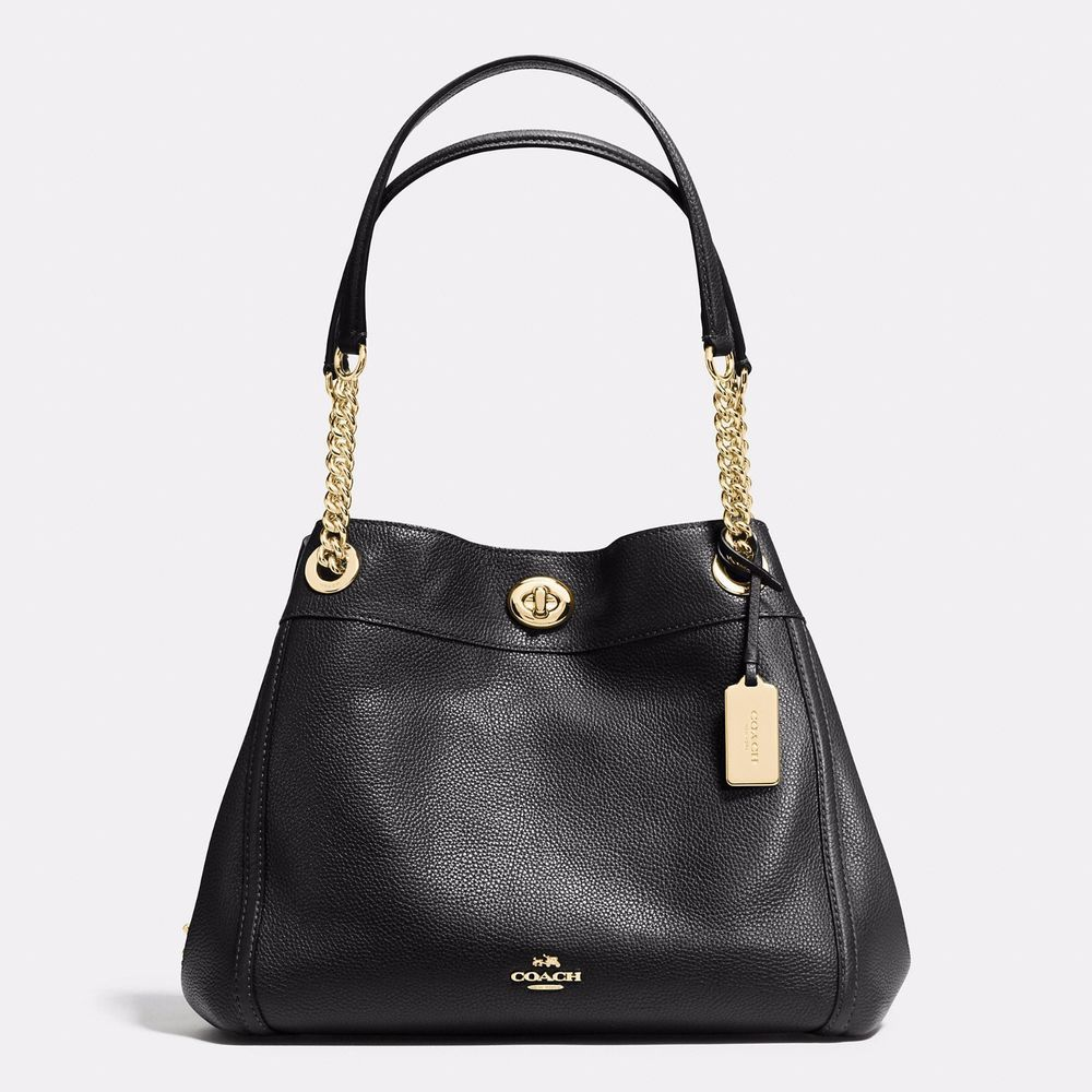 Coach 36855 turnlock edie shoulder bag handbag gold/black ...