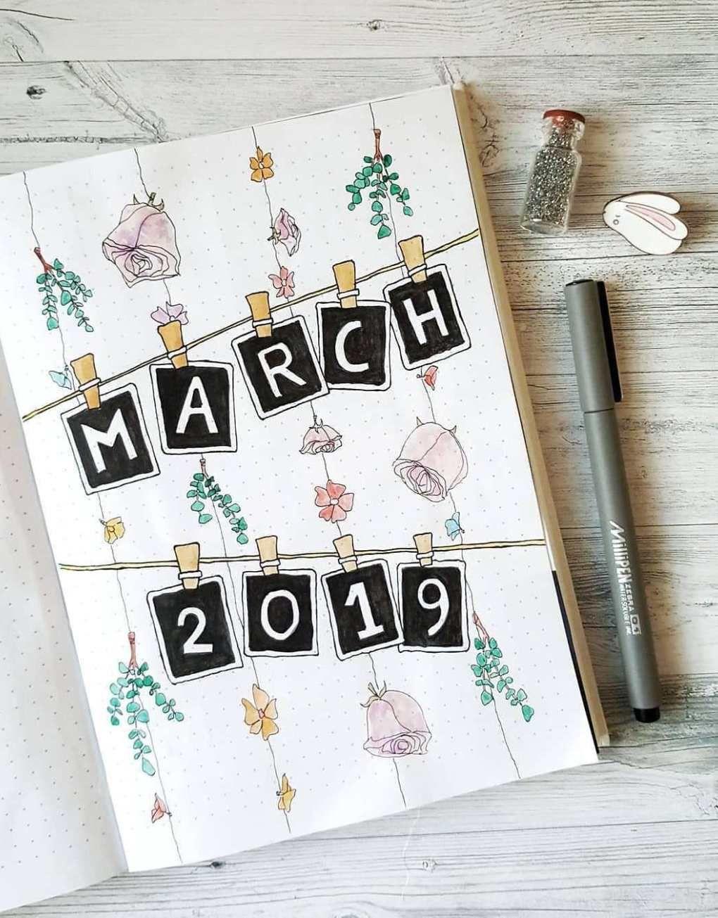 Идеи оформления Bullet Journal в марте #bujoidées