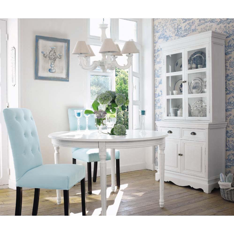 Table ronde de salle à manger à rallonges en bois blanche D 120 cm ...