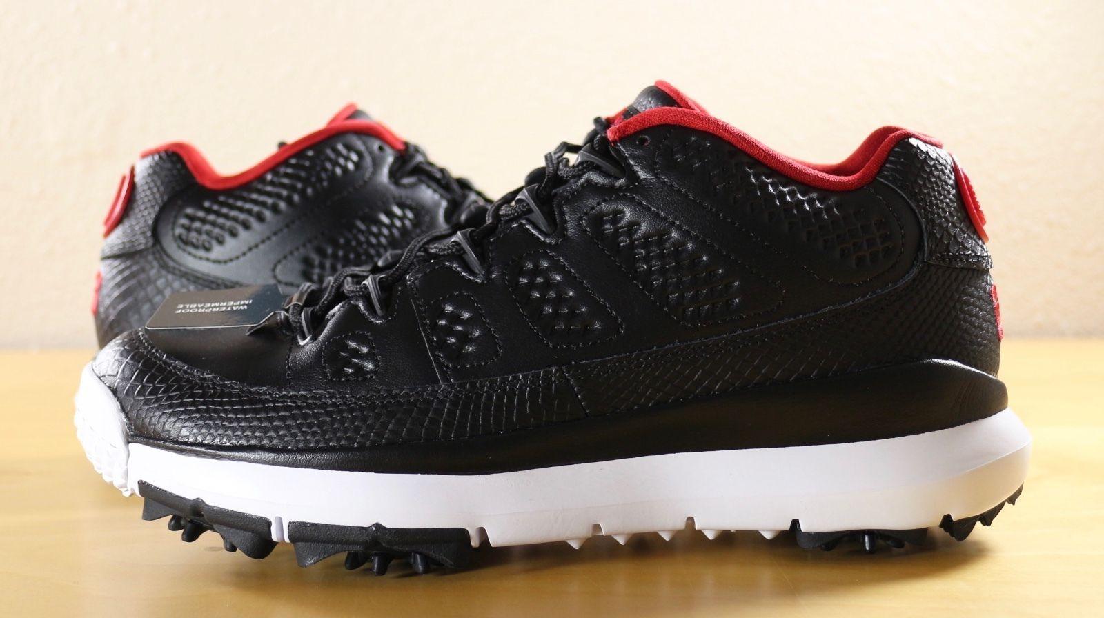 86af3748663a New Nike Air Jordan 9 IX Retro Golf Shoes Cleats Black Red Bred 833798-002  sz 10