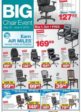@Staples Canada BIG Chair Event!! Super Savings from May 22-June 4th  sc 1 st  Pinterest : staples big chair event - Cheerinfomania.Com
