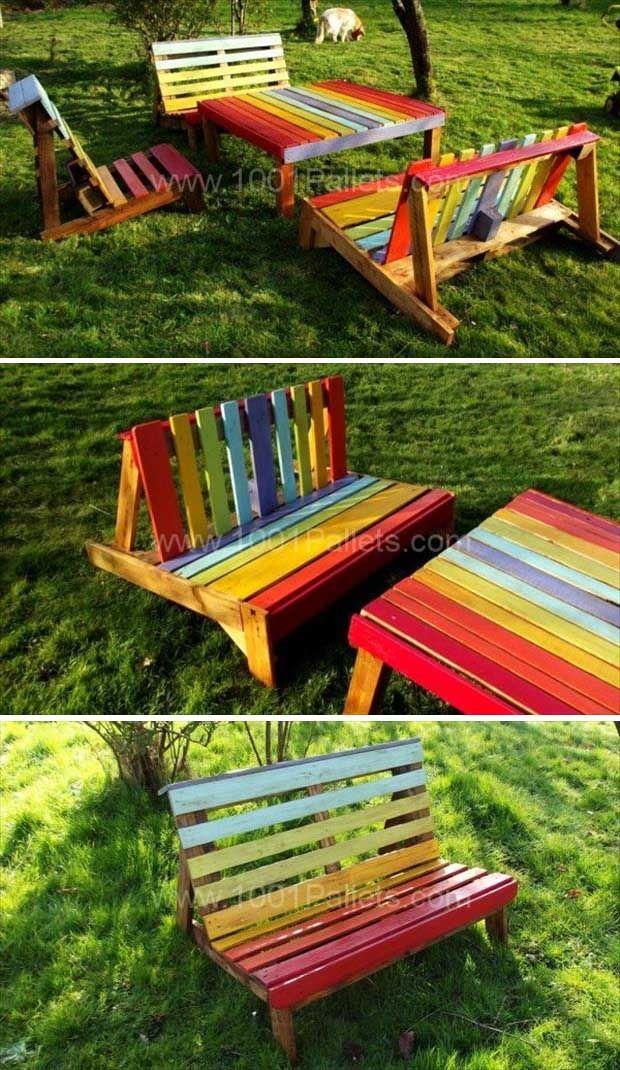 salon de jardin color objet et meuble en palette jardin pinterest jardins palette de. Black Bedroom Furniture Sets. Home Design Ideas