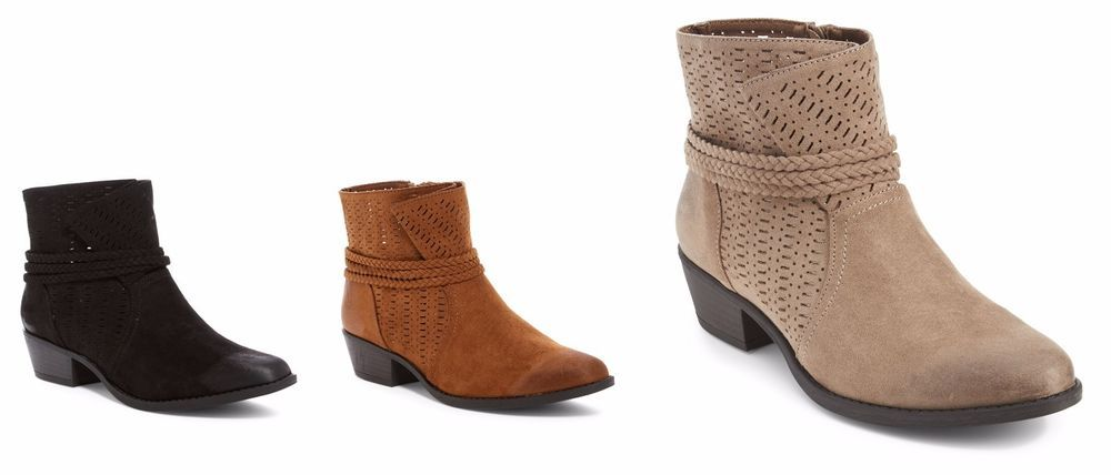 Qupid Sochi-84 Taupe Perforated Faux Suede Ankle Boots