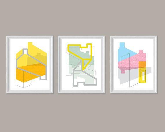 Set Von 3, Große Wandkunst, Geometrische Kunst Druck, Mitte Des Jahrhunderts  Moderne Kunst