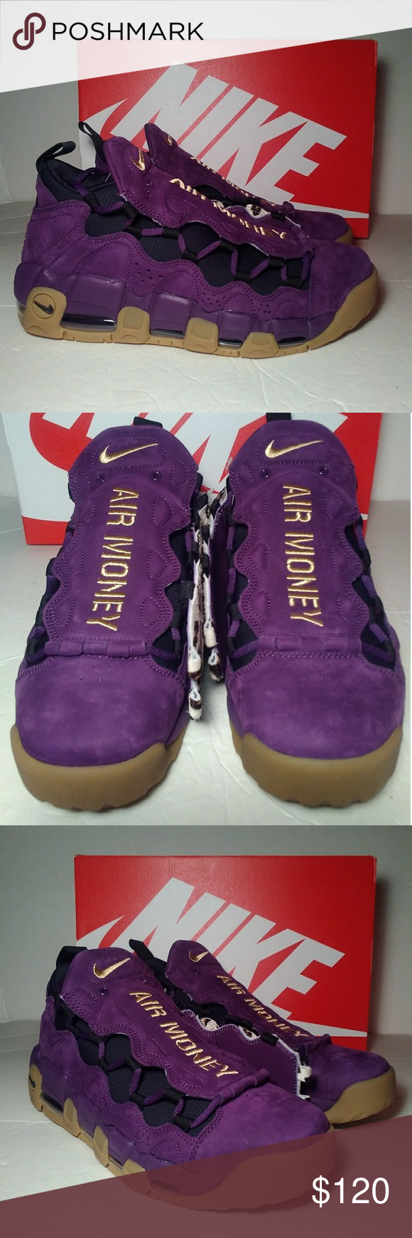 buy popular 9e6c9 56e5d Nike Air More Money Purple Metallic Men Size 9 Nike Air More Money  Purple Metallic Gold-Black Men Size 9 Nike Shoes Sneakers