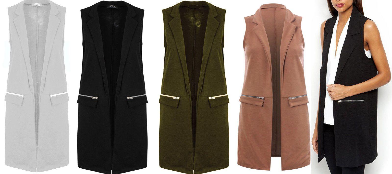 1309472941f9f New Ladies Long Duster Jacket Womens Zip Pocket Sleeveless Waistcoat Look  Top