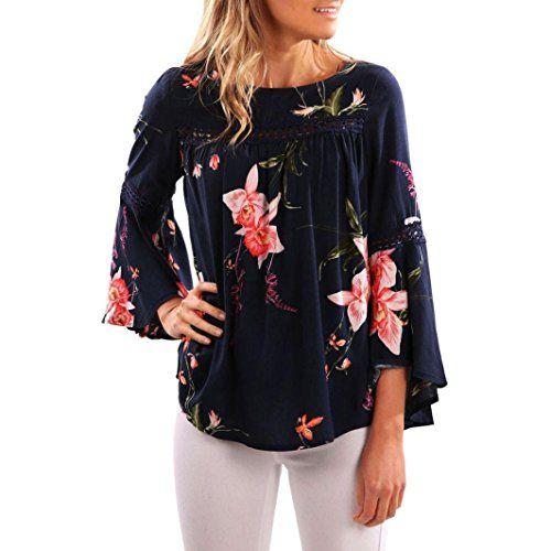 564deb0838d3 Reaso Femmes Kimono Floral Imprimé Manche Longue Blouse Casual Chemise  Elegant T-Shirt Chic Tops