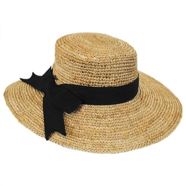 1e45f04b Side Bow Organic Raffia Straw Boater Hat ❤ liked on Polyvore featuring  accessories, hats, holiday hats, raffia hat, bow hat, boater hat and raffia  straw ...