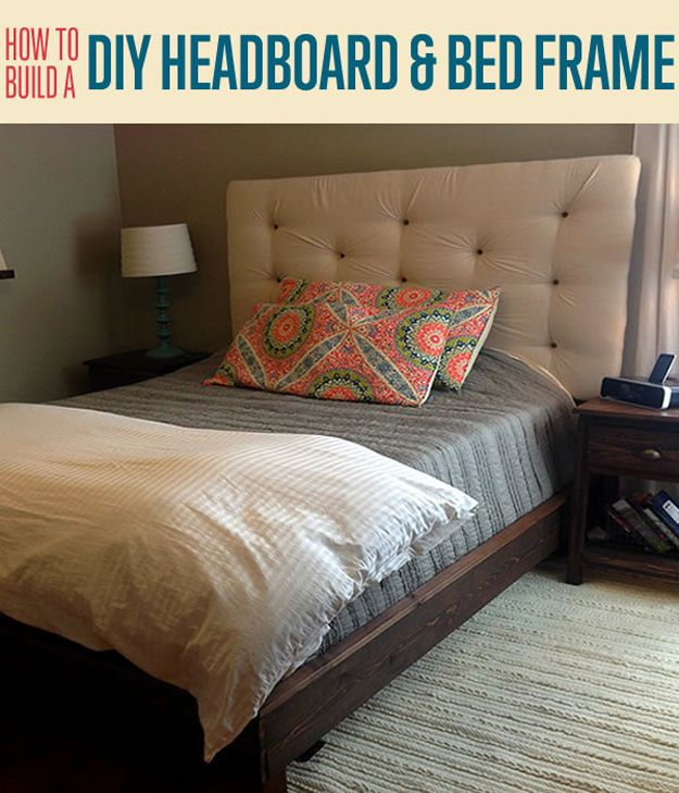 How to build a headboard and bed frame diy upholstered for Simple diy platform bed