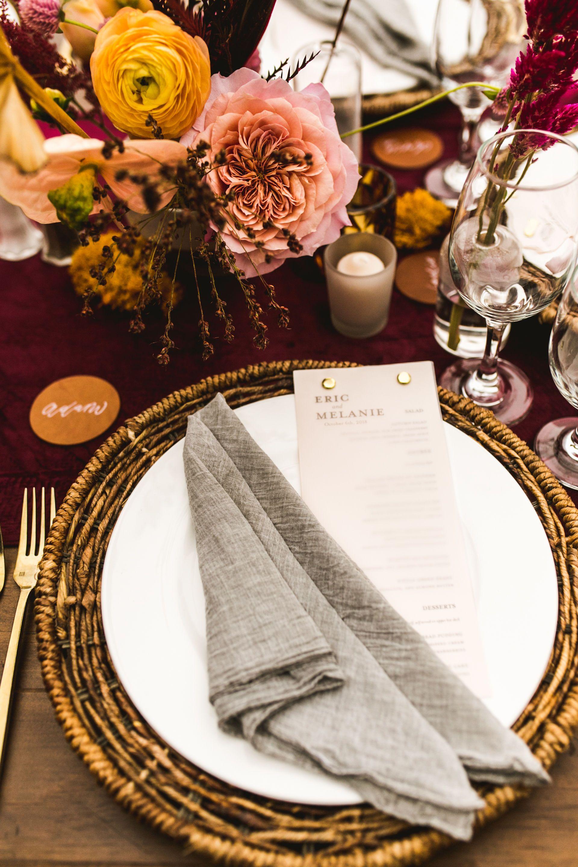 Centerpiece maroon runner menu wedding table photography