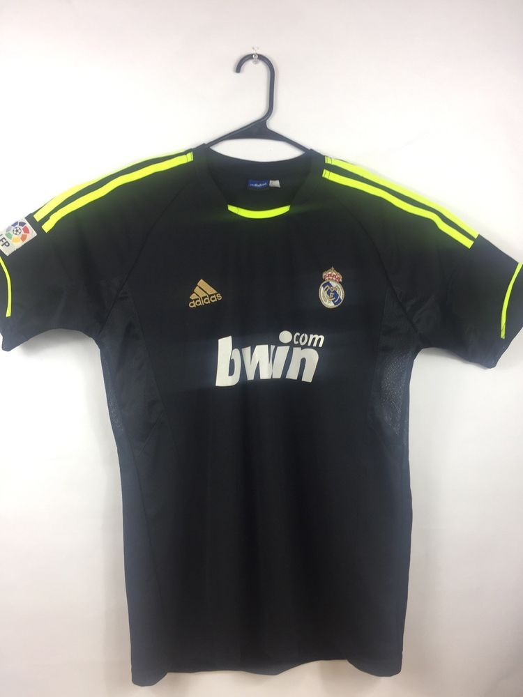 49cb4dd54 Adidas Real Madrid Soccer Jersey Black ClimaCool BWIN.COM LFP Mens Large  Ronaldo  adidas  RealMadrid