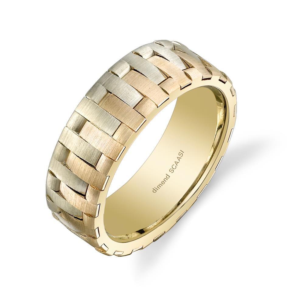 Mens white and rose gold interlocking wedding ring Mens Unique