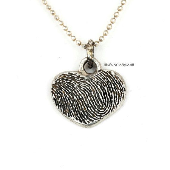 Sterling Silver Fingerprint Memorial Heart by ThatsMyImpression