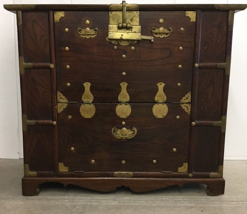 Antique Korean Banji Blanket Chest With Working Lock And Key