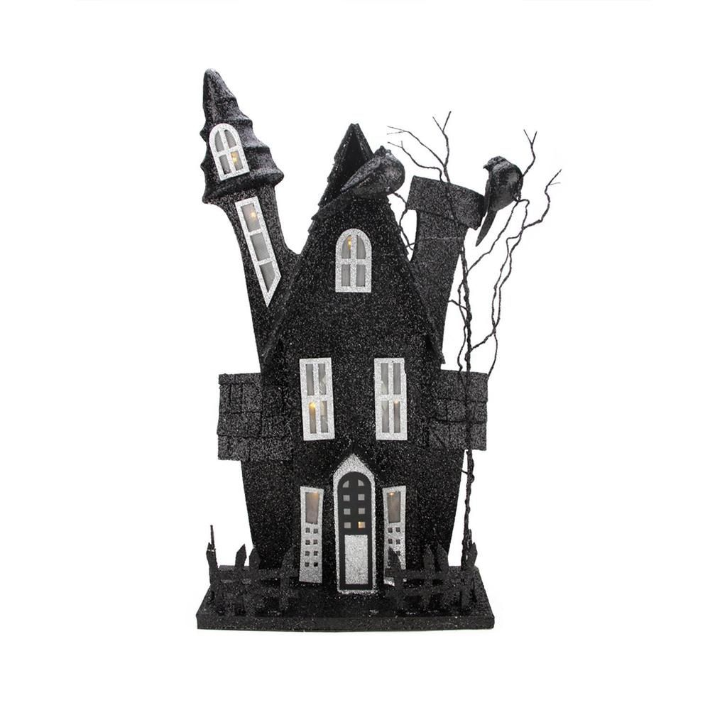 """20.75"""" Lighted Spooky Black Haunted Ghost House Halloween"""