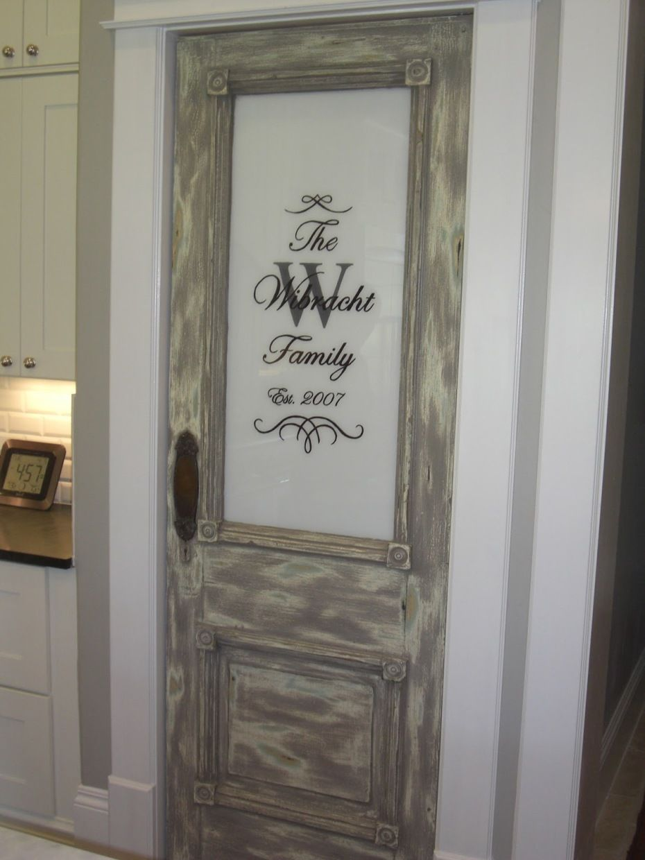 Kitchens And Distressed Gray Stained Wooden Pantry Door
