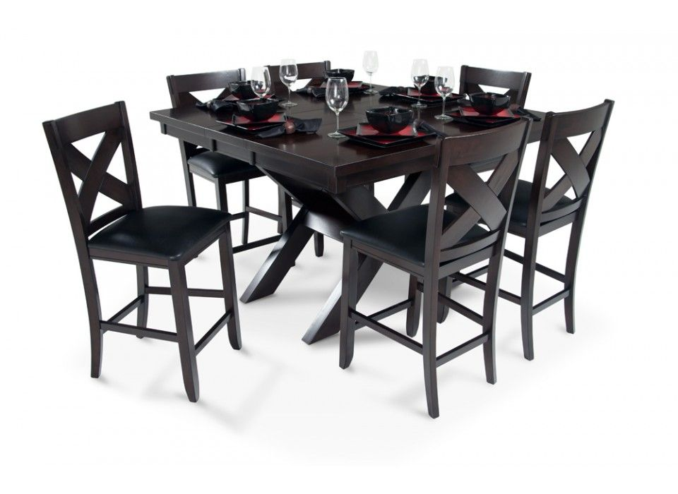 A Dining Room Set With 7 Piece X Factor Pub Asian Hardwood Solids Birch Veneers On Table Top In Dark Espresso Finish Light Distressing