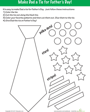 Fathers Day Coloring Make a Tie Worksheets Dads and Father