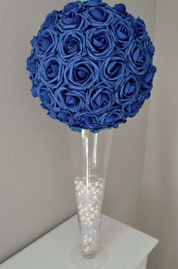 Navy blue real touch foam flower ball wedding by