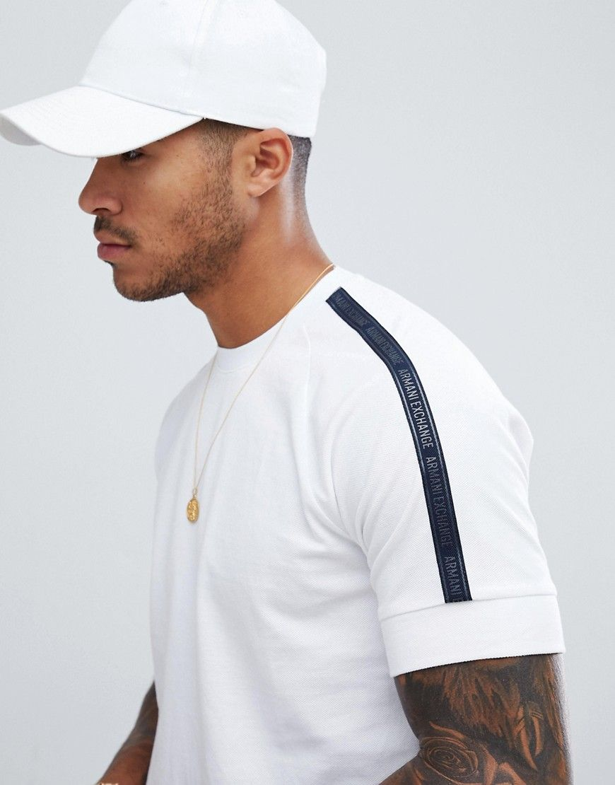 deb99747a511ec ARMANI EXCHANGE PIQUE T-SHIRT WITH TAPED SLEEVES IN WHITE - WHITE.   armaniexchange  cloth