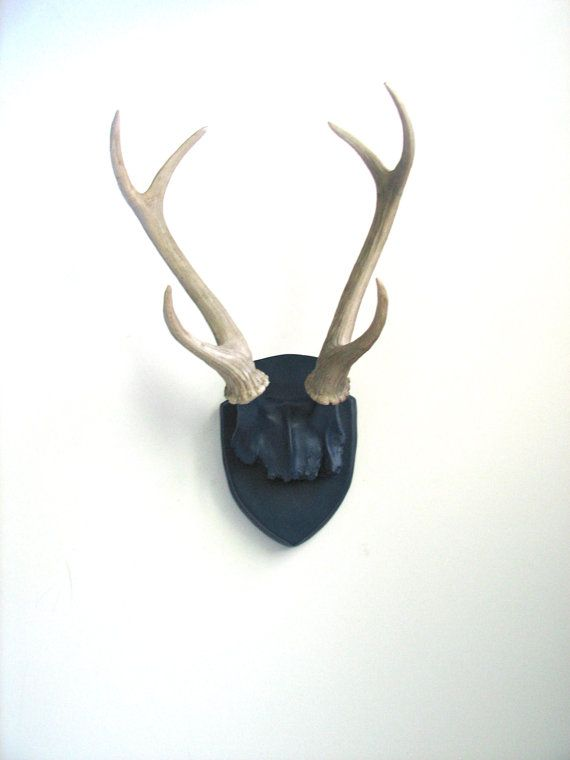 Faux Antlers Plaque Wall Hanging Rustic Modern Wall Mount Wall Decor Home  Decor In Navy Blue With Natural Looking Antlers Large
