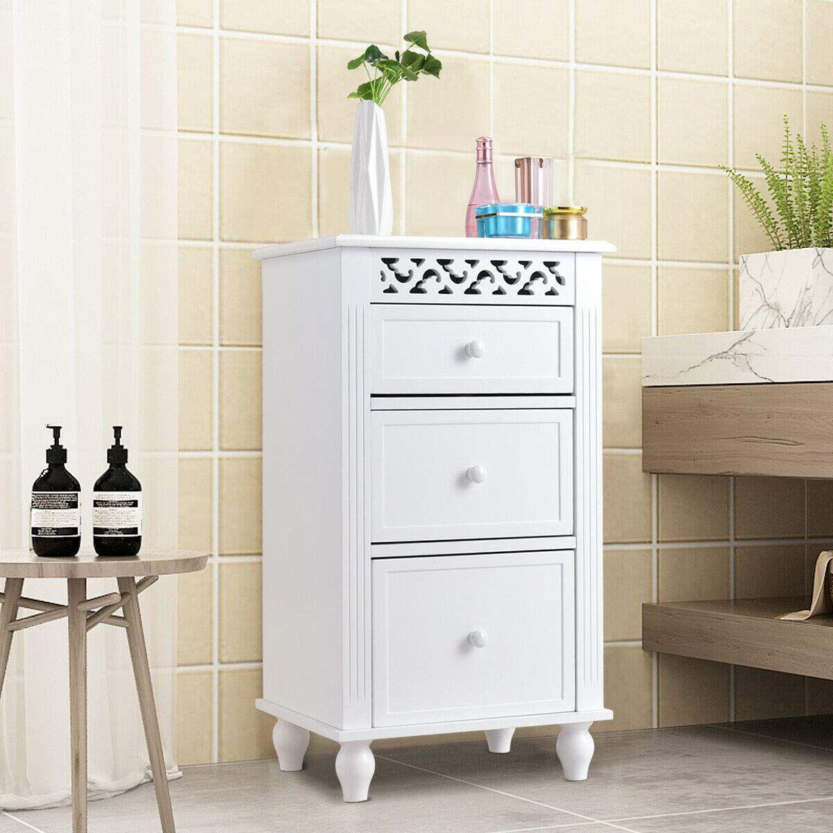 Giantex Storage Floor Cabinet W 3 Drawers Wood Bathroom Cupboard Organizer Kitchen Collection Cab Bathroom Floor Cabinets Cupboards Organization Wood Bathroom