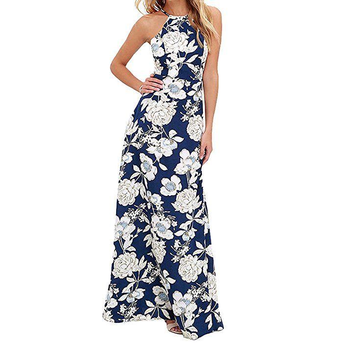 b0cfe18e9043 Sommer Maxi Kleid Romacci Damen Floral Print Boho Maxi Party Abendkleid  S-5XL Blau