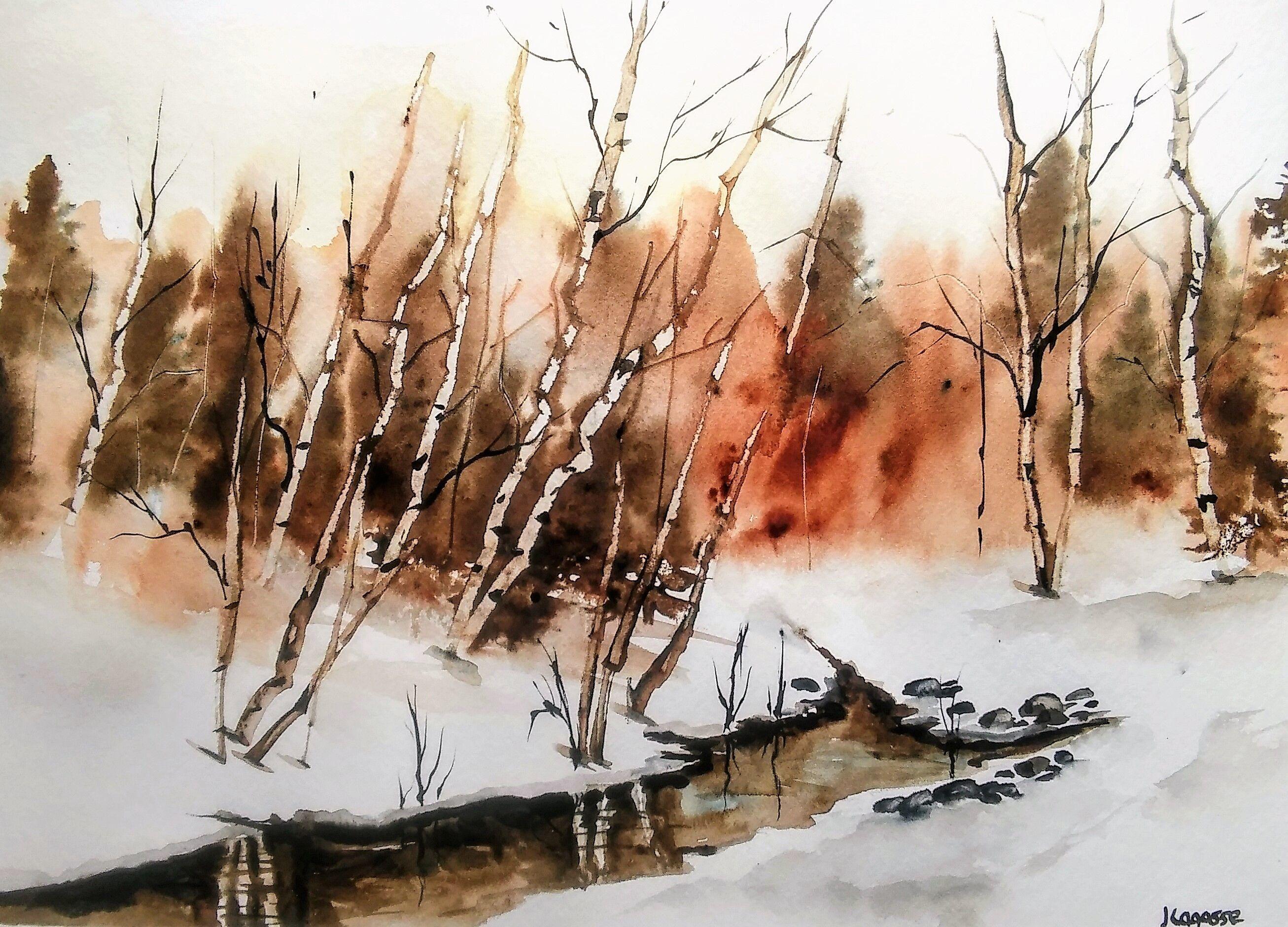 Copper Head Creek Painting Watercolor Landscape Paintings