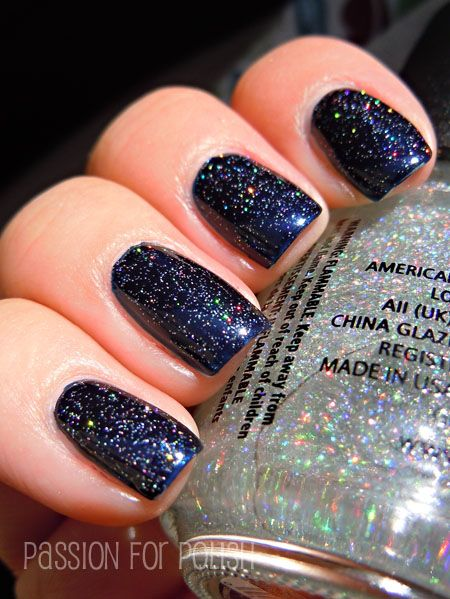 SWAPPED, Melissa. China Glaze Fairy dust holographic top coat over ...