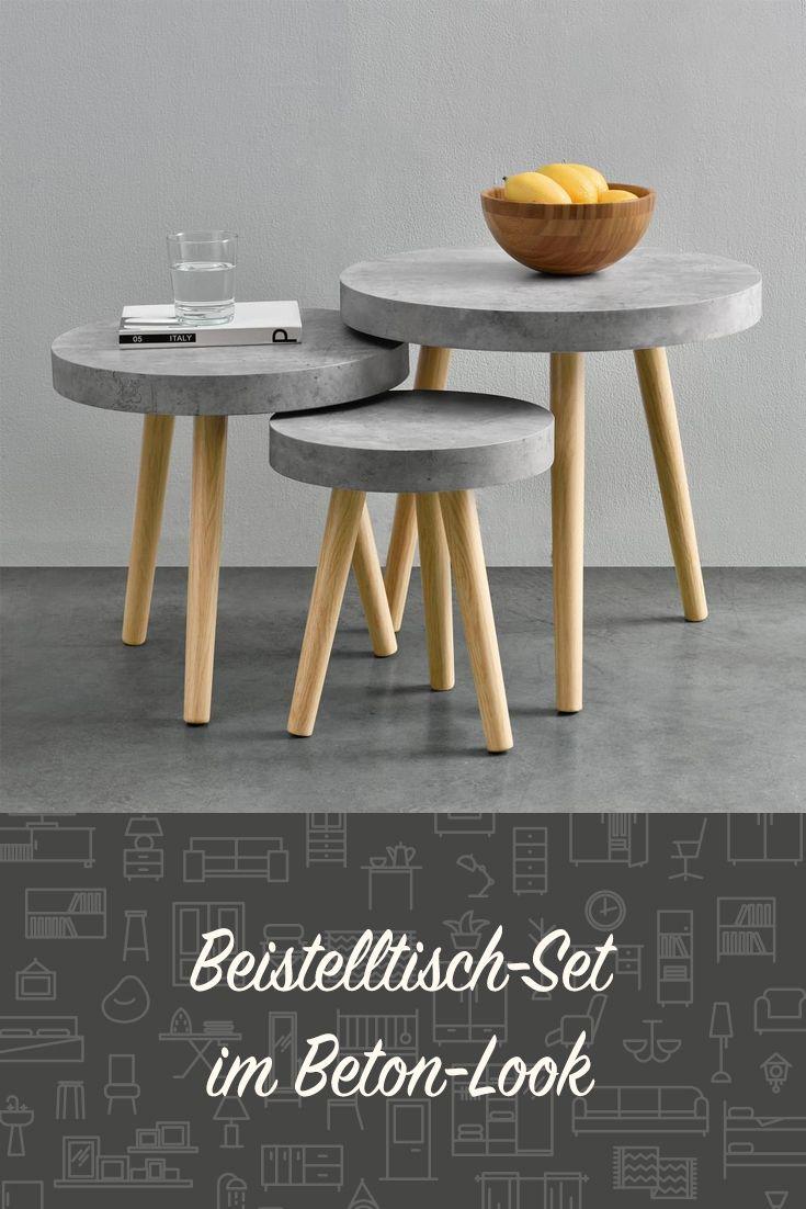 En Casa Couchtisch 3er Set Beton Zement Grau Beistelltisch Beistell Tisch Palettenmobel Im Freien Couchtisch Basteln Mit Beton