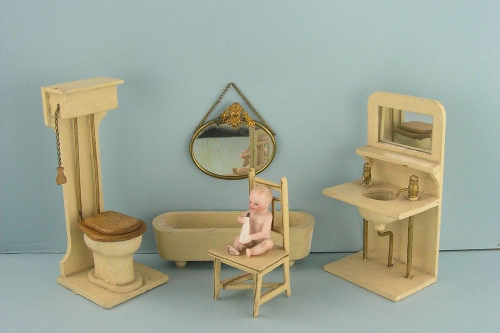 Exceptional GOTTSCHALK: Komplettes Badezimmer Mobiliar Für Das Antike Puppenhaus!
