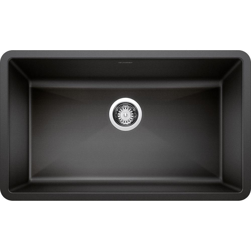 Blanco Precis Undermount Granite Composite 32 In Single Bowl Kitchen Sink In Anthracite 440149 The Home Depot Single Bowl Kitchen Sink Kitchen Sink Single Basin