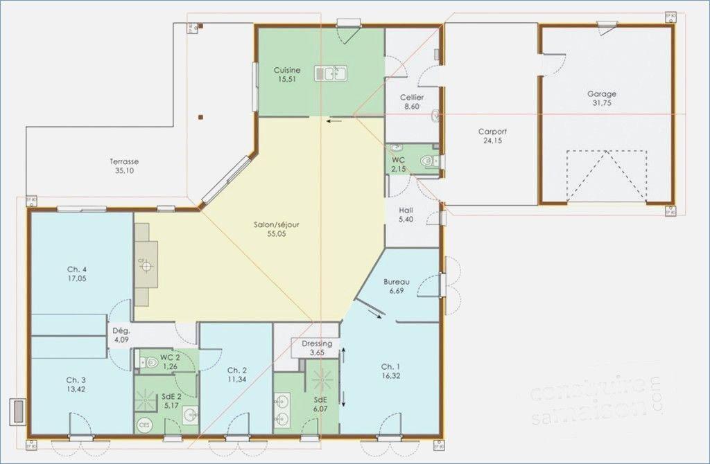 Plan Maison 120m2 4 Chambres Idees Decoration Interieure Plan Maison Plain Pied Maison Plain Pied Plan Maison