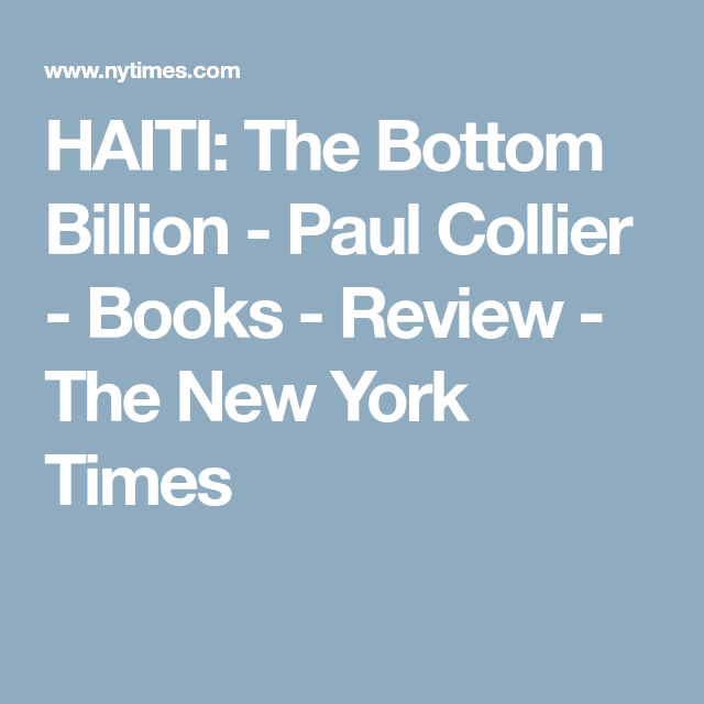Paul collier haiti