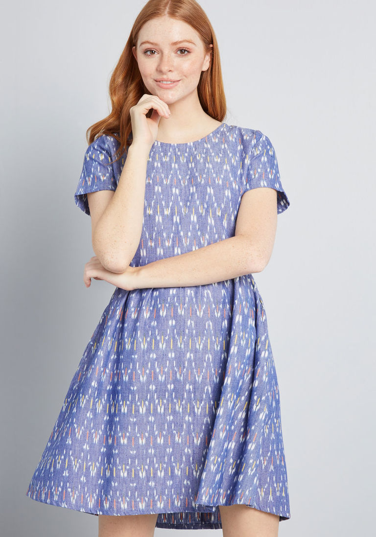 85d54cb07e Stylish Purpose Cotton Dress in XL - Short Sleeves A-line Mid-length by  Mata Traders from ModCloth