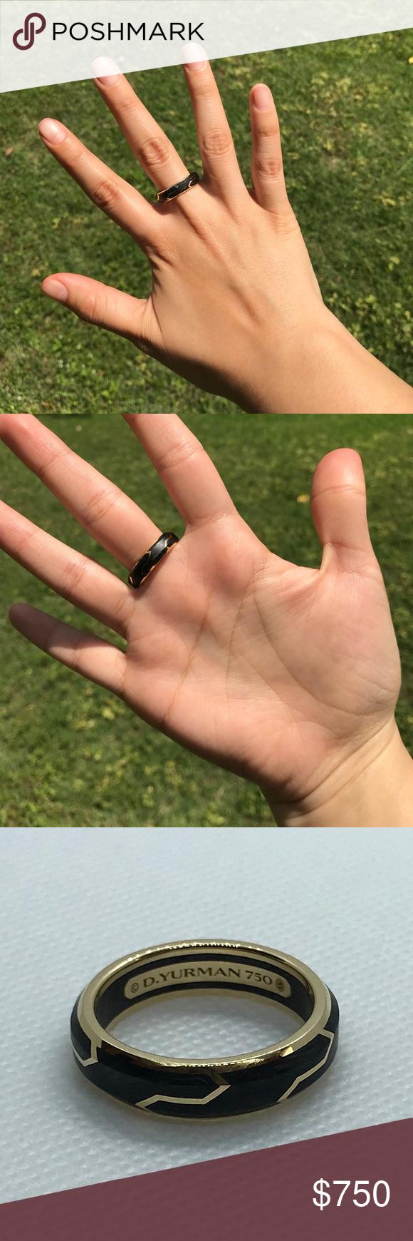 David Yurman 18k Gold Carbon Rings Mens Size 10 David Yurman 18k Yellow Gold Forged Carbon Mens Ring Size 10 Weig Rings For Men Mens Ring Sizes Size 10 Rings